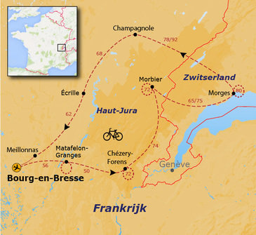 routekaartje Fietsvakantie Frankrijk - Haut-Jura