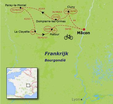 routekaartje Fietsvakantie Frankrijk - Bourgondië (alle leeftijden)