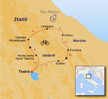 routekaartje Fietsvakantie Italië - Umbrië Marche