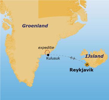 routekaartje Rondreis Groenland Expeditie