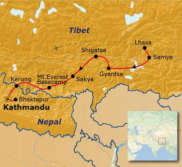 routekaartje Rondreis Tibet Hoogtepunten