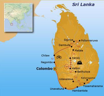 Route Sri Lanka reis, 17 dagen