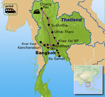 routekaartje Familiereis Privé Thailand