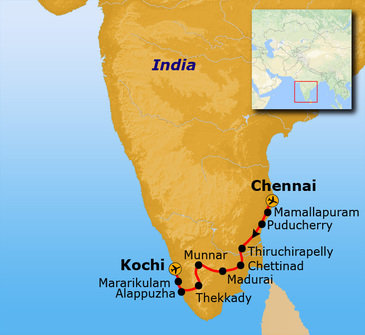 Route Zuid India, 25 dagen