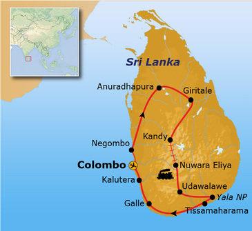 Route Sri Lanka, 16 dagen