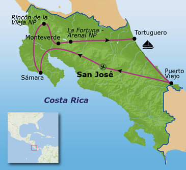 Route Costa Rica 16 dagen, vertrek 19 april 2019