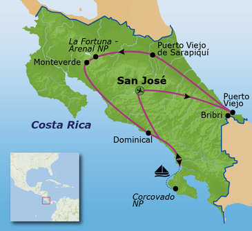 routekaartje Familiereis Costa Rica duurzaam familiereis