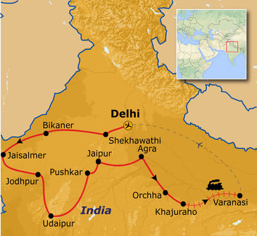 routekaartje Rondreis Noord-India Compleet