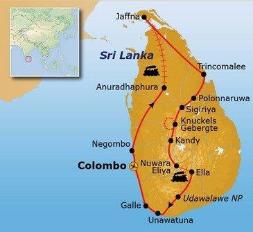 Route Sri Lanka reis, 25 dagen