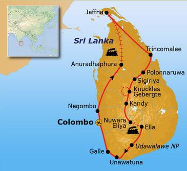 Route Sri Lanka reis, 24 dagen