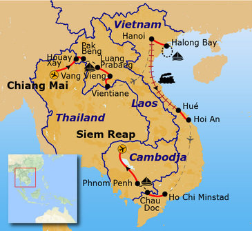 Route Indochina reis, 29 dagen