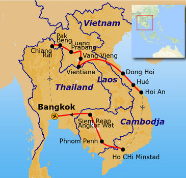 Route Indochina reis, 26 dagen