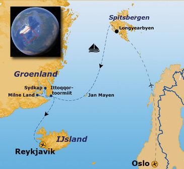Route vier Arctische eilanden