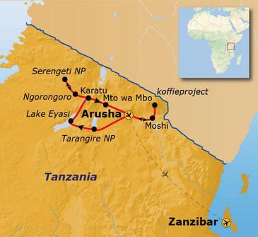 Route Tanzania & Zanzibar, 18 dagen