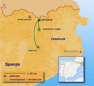 routekaartje Familiereis Multi-actief Spanje - in de Canyons van de Pyreneeën