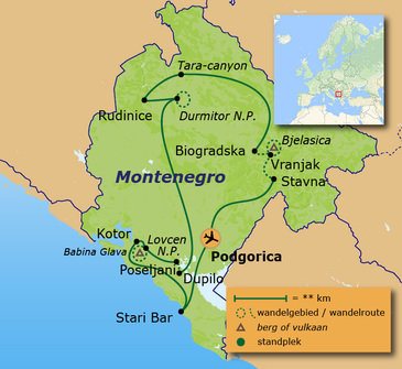 Route 12 daagse wandelvakantie Multi-actief Montenegro - Missie Montenegro