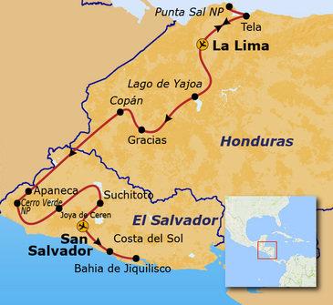 routekaartje Rondreis Honduras en El Salvador