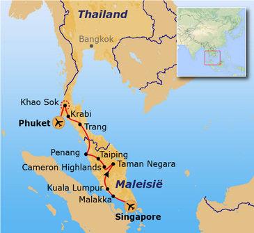 routekaartje Groepsrondreis Singapore, Maleisië & Thailand