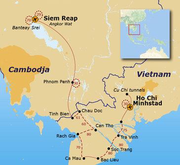 Route Vietnam en Cambodja fietsreis, 17 dagen