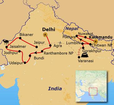Route Noord - India en Nepal, 30 dagen