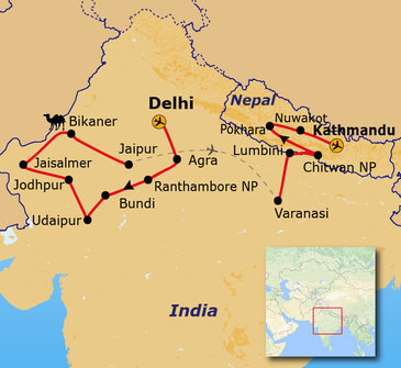 Route Noord - India en Nepal, 30 dagen