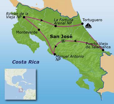 Route Costa Rica, 6 augustus 2019, 17 dagen