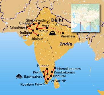 routekaartje Groepsrondreis Noord- en Zuid-India