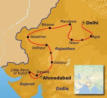 routekaartje Groepsrondreis India - Rajasthan