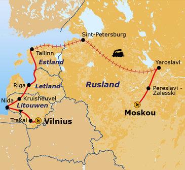 Route Baltische Staten en Rusland, 17 dagen