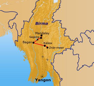 Route Myanmar 2020, 15 dagen
