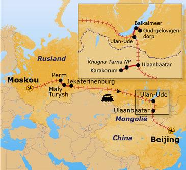 routekaartje Groepsrondreis Trans-Siberië Expres