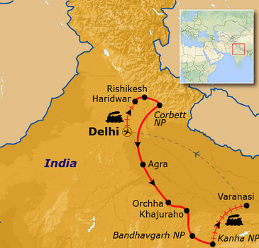 routekaartje Rondreis India - tijgerreis