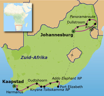 Route Tuinroute en Kruger, 17 dagen