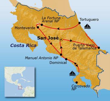 routekaartje Groepsrondreis Costa Rica Pop-Up