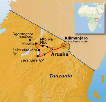 Route Tanzania Kilimanjaro, 16 dagen