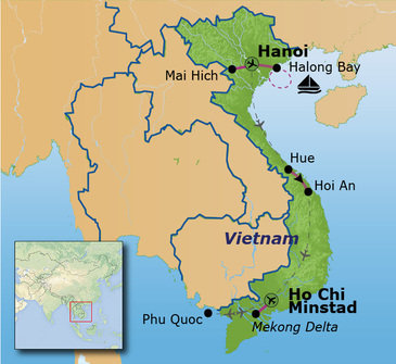 routekaartje Familiereis Vietnam Hoogtepunten