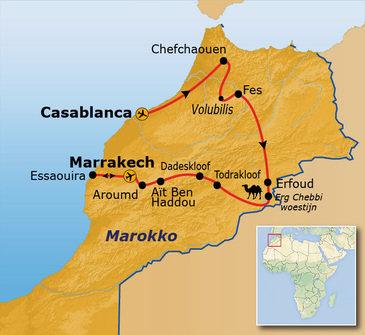 routekaartje 22-35ers reis Marokko