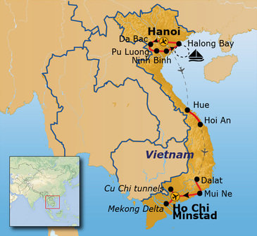 Route 22 daagse groepsrondreis Vietnam 22-35 jaar