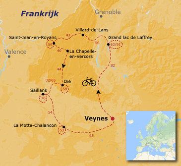 routekaartje Fietsvakantie Frankrijk - Vercors en Drôme