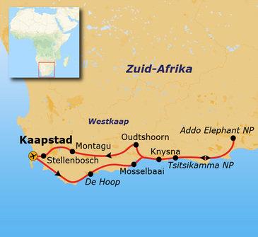 routekaartje Groepsrondreis Zuid-Afrika Tuinroute
