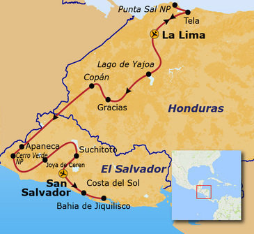Route Honduras en El Salvador, 20 dagen
