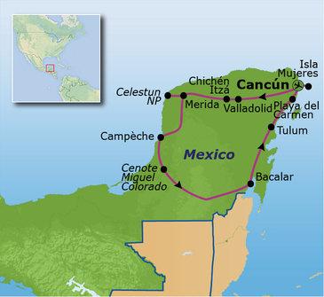 Route familiereis Mexico