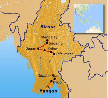 routekaartje Groepsrondreis Myanmar Hoogtepunten
