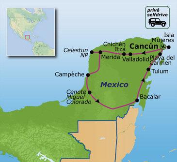 routekaartje Familiereis Privé Mexico