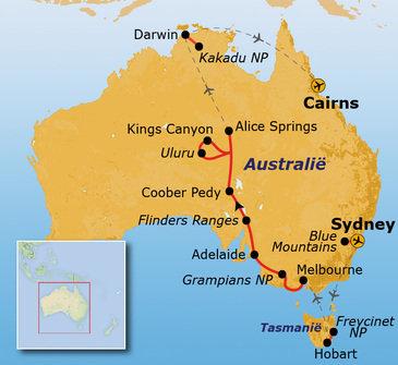 routekaartje Rondreis Australië