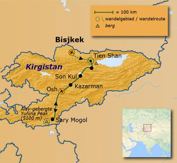 Route 20 daagse Kirgizië Anders Reizen wandelvakantie