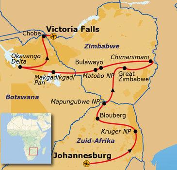 Route Zimbabwe en Botswana, 24 dagen