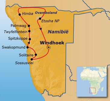 Route Namibië, 18 dagen