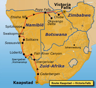 Route Kaapstad - Vic Falls