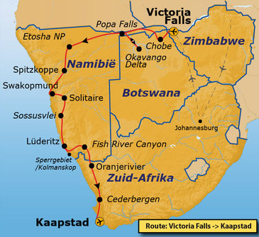Route Vic Falls - Kaapstad